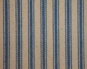 Vintage Inspired Denim Blue Cotton Ticking Stripe Material 1 Yard