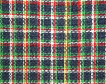 Homespun Material | Plaid Material | Cotton Material | Quilt Material | Navy, Green, White And Yellow Small Plaid | 1 Yard