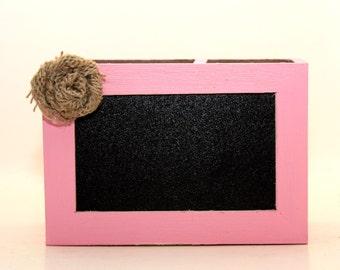 Chalkboard Desk Organizer Pink and Brown with Burlap Flower Pencil Holder Wood