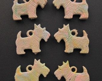 Scottie Scotty Dog Charms, Plastic, Multi Color on Beige - NOS - Lot of 6