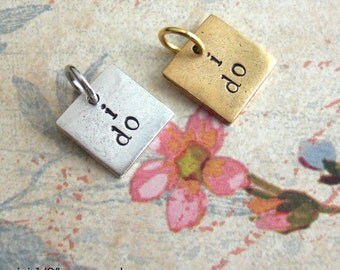Mini Tag - 2 Words - Front & Back .. Metal Disc OR Square Charm .. Monograms, Couples, Initials, Cute tags. silver, copper, gold finish