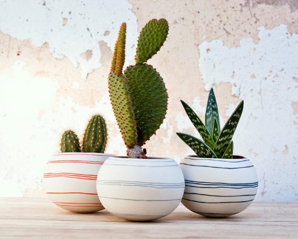 Jardinera de cer mica cactus rayas naranjas jardinera por for Jardineras de ceramica