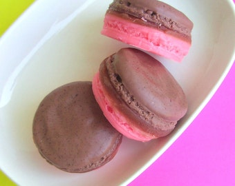 Gift Soap. Chocolate Raspberry MACARON SOAP, Girlfriend gift, best friend gift, mom gift, wife gift, Small Gifts. Gift for Her. Food Props