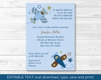 Cute Airplane Baby Shower Invitation / Airplane Baby Shower Invite / Blue Airplane / Baby Boy Shower / INSTANT DOWNLOAD Editable PDF