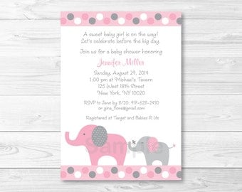 Pink Elephant Baby Shower Invitation / Elephant Baby Shower Invitation / Pink & Grey Elephant / Baby Girl Shower / PRINTABLE