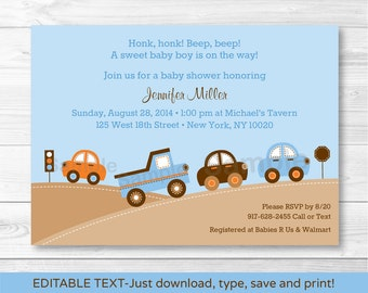 Cute Car Baby Shower Invitation / Car Baby Shower Invite / Cars & Trucks / Baby Boy Shower / INSTANT DOWNLOAD Editable PDF
