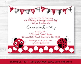 Ladybug Birthday Invitation INSTANT DOWNLOAD Editable PDF