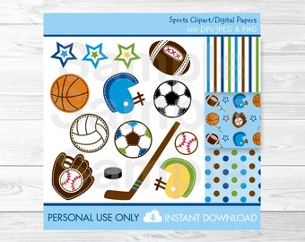 Sports Clipart / Digital Paper Football Baseball Basketball Soccer Hockey PERSONAL USE instant download