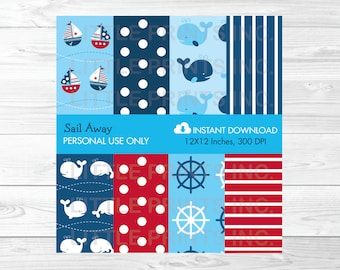 Nautical Whale Sailboat Digital Paper PERSONAL USE Instant Download