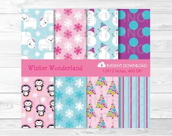 Winter Wonderland Penguin Polar Bear Digital Paper PERSONAL USE Instant Download