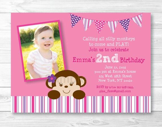 Girl Monkey Birthday Invitation Pink Purple 1st
