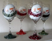 Snowman Wine Glasses set of 4.