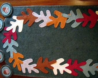 Hand Stitched FALL LEAVES and ACORNS Wool-Felt Fall Table Runner-Penny Rug-Home Decor-Table Decor-Wool Applique-Fiber Art-Fall Decor--ofg