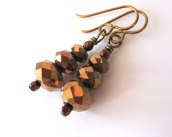Metallic Bronze Crystal Earrings, Mixed Metal, Sparkly Glass Bead Earrings, Hypoallergenic Niobium Hooks