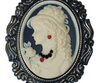 SALE Very Nice Cameo Brooch Antiqued Gold Cream Black Woman with Rose, Hat and Swarovski Jewelry Victorian - AA070