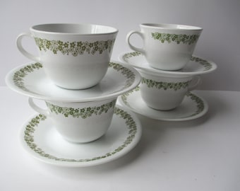 Vintage Corelle Spring Blossom Cups and Saucers Set of Four