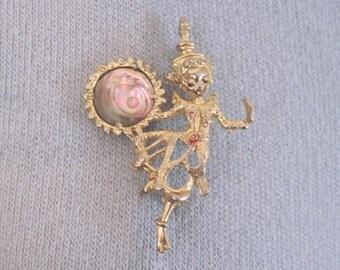 Dancer of  Siam - vintage 1950s Hindu, Siamese Gold & Abalone Brooch -   Apsarases, Natyashastra, Devadasis