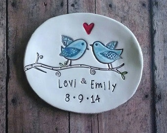 Ceramic ring dish Love Birds wedding rings Wedding gift engagement gift jewelry dish ring holder ceremony Ring Bearer pillow