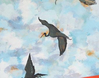 Ibises in flight