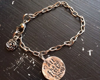 Bracelet Hand Hammered Dime all these little CHOOSE your WORDs
