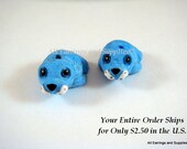 SALE - 2 Ceramic Blue Seal Beads Hand Painted Glazed 21x17mm - 2 pc - 5944-AG