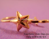 24 Gold Star Earwire Gold Plated Kidney, w/Loop - 12 Pr - 2506-4