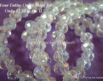 50 Clear Glass Bead AB Faceted Abacus 6x4mm - 50 pc - G6026-CL50