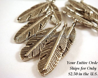 10 Silver Feather Charms Double Sided 26x9mm Antique Silver Plated Pewter - 10 pc - 6296-13