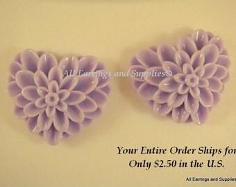 SALE - 2 Lavender Heart Flower Cabochon Purple Dahlia Resin 38x34mm - No Holes - 2 pc - CA2017-PP2