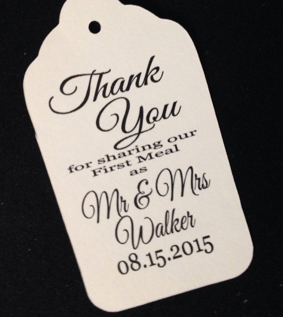 100 LARGER LARGE Thank You for Sharing our First Meal Tags 2 1/8 x 3 3/4  Personalize with names and date