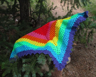 Children's Crocheted Rainbow Shawl for Play and Dress Up