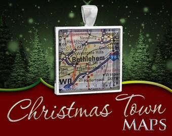 Bethlehem, PA | Christmas Town Map Pendant