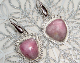 Sterling Silver and Pink Sapphire Earrings