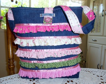 Ruffles Tote Bag Purse Shabby Chic Pinks Denim Shoulder Cross Body