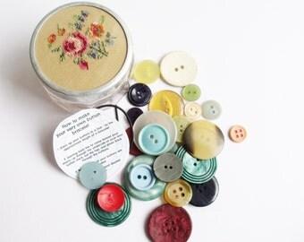 Petit point glass jar, button bracelet kit, vintage, antique, rose, needlepoint, embroidery, SALE