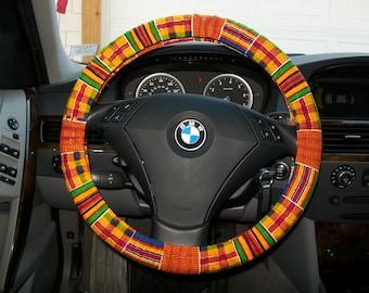 Custom Kente Cloth Patterned Steering Wheel Cover