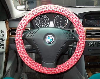 Pink Flamingo Fun On Black Steering Wheel Cover