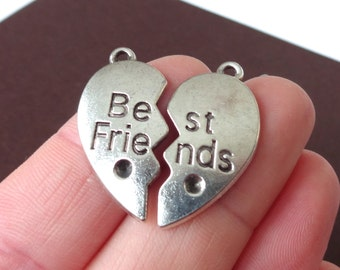 "6 (3 pairs) ""Best Friends"" Charms 13.5x27x2mm"