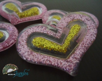 LARGE CLEAR Glitter Heart Shape Pendants with Pink and Gold Glitter - 4x