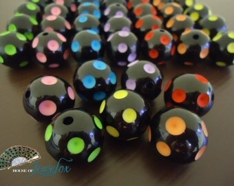 Big Round BLACK Polka Dot Acrylic Beads, 20mm - 8x (Choose your Own Color)