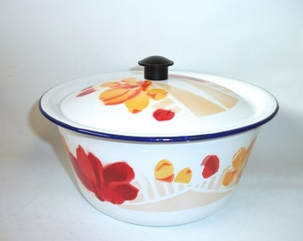 Vintage Enamel Enamelware Bowl with Lid Graniteware Pot for Cooking
