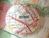Large Recycled Detroit Map Magnet or Button -