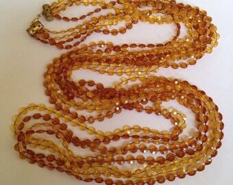 Vintage Amber Colored Multi Strand Flapper Style Necklace