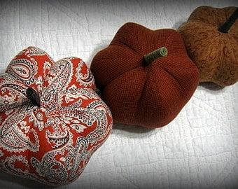 pumpkins, fabric pumpkins, Fall, Autumn decor, wedding centerpiece - warm and bright - set of 3 p U m P k I nS with 1 set of bling - 88