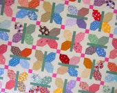 "FLUTTER a Vintage Quilt from Quilts by Elena 72"" square"