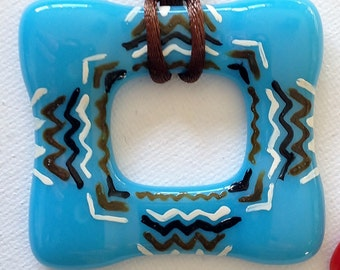 Blue Fused Glass Hand Painted in an Aztec Design on Nylon Cord