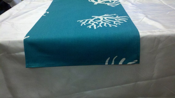 Sample sale linens 12 wide coral branches on teal for Table coral sample