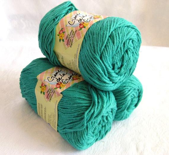 Creme de la Creme 100% Cotton Yarn, AQUA JADE,  green blue shade of kitchen cotton