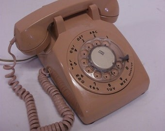 60s Vintage Pink  Rotary Dial Telephone Phone