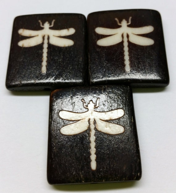Large Square Bone Two-Tone Dragonfly Bead - Set of Three